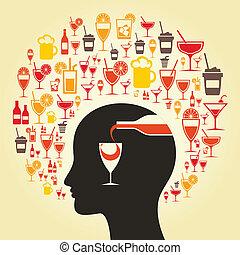 酒精, a, 頭