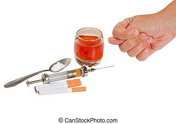 酒精, rejects, 停止, 香煙, 手, narcotic.