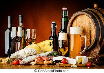 酒, 啤酒, 以及, 食物