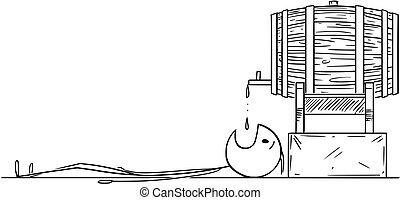酔った, 小樽, 卵を生む, 漫画, 樽, ビール, つかまえること, 人, 下に, 落ちる, 低下, ∥あるいは∥, ワイン