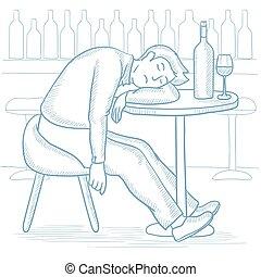 酔った, 男睡眠, 中に, バー, ベクトル, illustration.