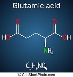 酸, 方式, e), molecule., 背景, glu, 構造, 暗い, (l-, 青, アミノ, ...