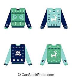 醜い, セット, セーター, 雪片, クリスマス