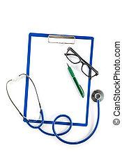 醫學的保險, 以及, 健康護理, 概念, 剪貼板, 眼鏡, 以及, 鋼筆
