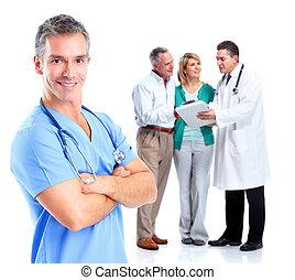 醫學的醫生, 以及, 年長的夫婦, patient.