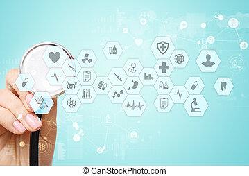 醫學的醫生, 工作, 由于, 實際上, 屏幕, interface., 醫學, 技術, 健康護理, concept., 電子, 健康, records.