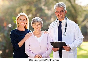 醫學的醫生, 站立, 由于, 年長者, 病人, 以及, 她, 女儿