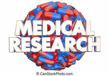 醫學研究, 醫學, 膠囊, 藥丸, 發現, 醫治, 3d, 插圖