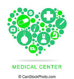 醫學, 中心, 顯示, 治療, 醫院, 以及, 健康護理