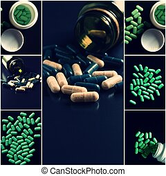 醫學, 主題, collage., 綠色, 藥丸, 集合, ......的, 圖像, 射擊, 由于, copyspace