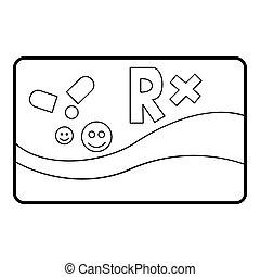 醫學, 卡片, 慢性, 疾病, 圖象, outline, 風格