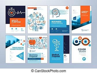 醫學, 小冊子, 模板, 年度, 設計, a4, 報告, 集合, 飛行物, 大小