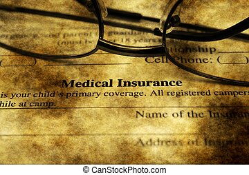 醫學, 概念,  grunge, 保險