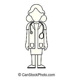 醫學, 白色, 黑色, avatar, 卡通