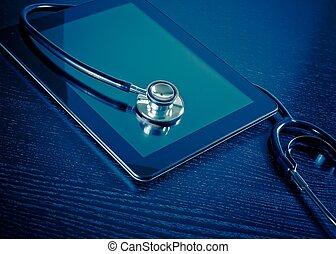 醫學, 聽診器, 上, 現代, 數字的藥片, 在, 實驗室, 上, 木頭, 桌子