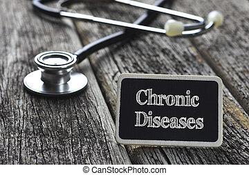 醫學, concept-, 慢性, 疾病, 詞, 寫, 上, 黑板, 由于, 聽診器, 上, 木頭, 背景