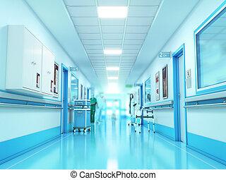 醫學, concept., 醫院走廊, 由于, rooms., 3d, 插圖