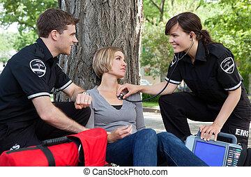 醫學, emergencial, 評估, 愉快