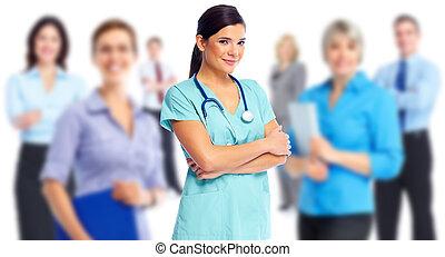 醫治, 健康, woman., 醫生