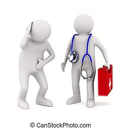醫生和病人, 在懷特上, 背景。, 被隔离, 3d, 圖像