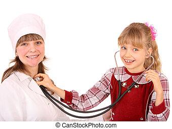 醫生有听診器, 以及, child.