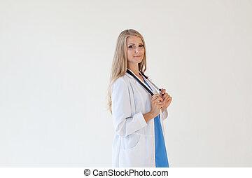 醫生有听診器, 在, 醫院, 護士