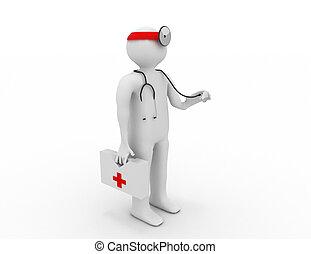 醫生, 人們, -, 人, 3d, 人, stethoscope.