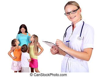 醫生, 以及, 家庭, 由于, 孩子