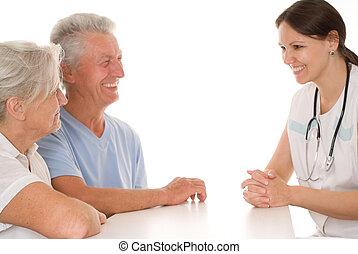 醫生, 以及, an, 年長的夫婦