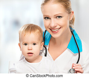 醫生, 儿科醫生, 以及, 病人, 愉快, 孩子, 嬰孩