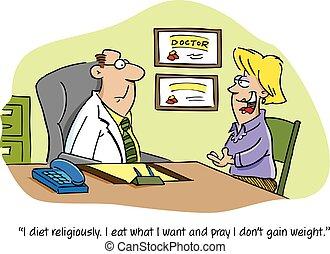 醫生, 卡通, 病人
