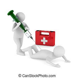 醫生, 圖像, 被隔离, 病人, 注射,  3D