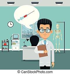醫生, 在, 辦公室