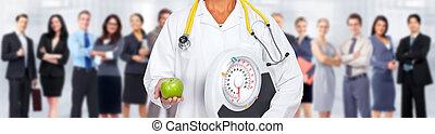醫生, 婦女, 手, 由于, 規模, 以及, apple.