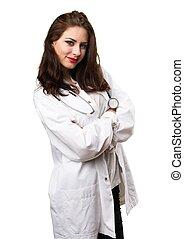 醫生, 婦女, 由于, 她, 武器穿過