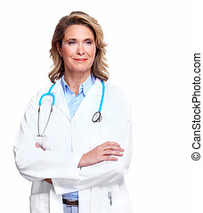醫生, 婦女, 由于, a, stethoscope.