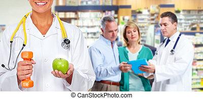 醫生, 婦女, 由于, dumbbell, 以及, apple.