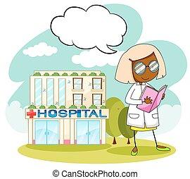 醫生, 工作在, the, 醫院