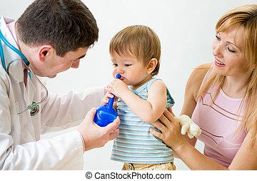醫生, 建議, 母親, 以及, 孩子, 大約, 鼻, 灌溉, 或者, douch