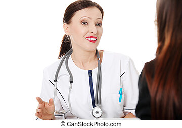 醫生, 成熟, 她, patient.
