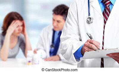 醫生, 手, 寫, 上, a, clipboard.