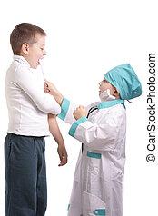 醫生, 檢查, 咽喉