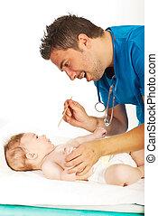 醫生, 檢查, 嬰孩, 脖子, 為, 喉痛