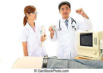醫生, 檢查, a, 病人