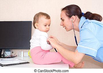 醫生, 由于, 嬰孩, 病人