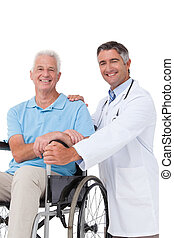 醫生, 由于, 年長者, 病人, 在, 輪椅