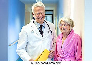 醫生, 由于, 年長, patient.