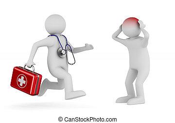 醫生, 由于, 急救工具, 在懷特上, 背景。, 被隔离, 3d, 插圖