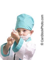 醫生, 由于, 注射器