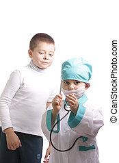 醫生, 由于, 溫度計